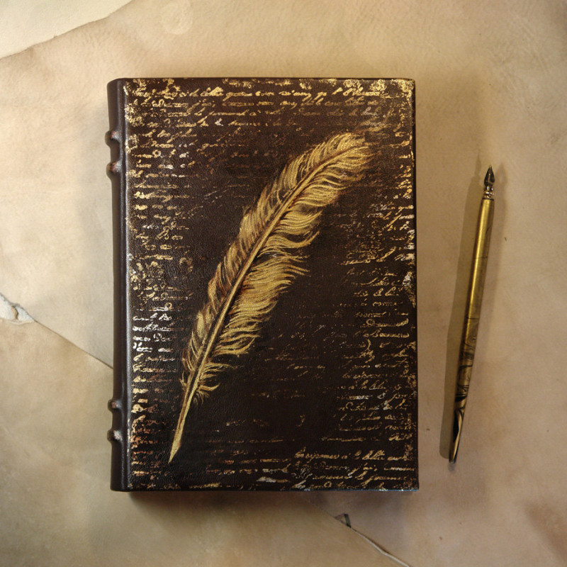 Old Book Cover Journal : Art nouveau leather journal large album aged paper old