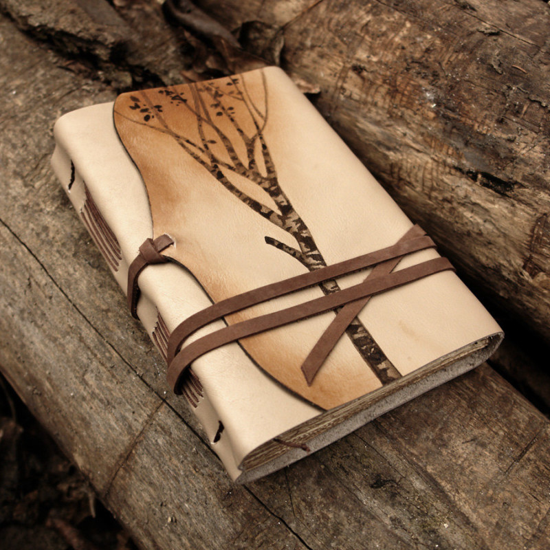 Leather Journal Notebook Diary In Brown And Beige With