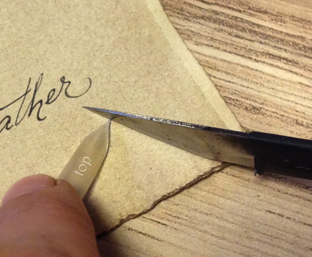 cutting the feather quill nib tip