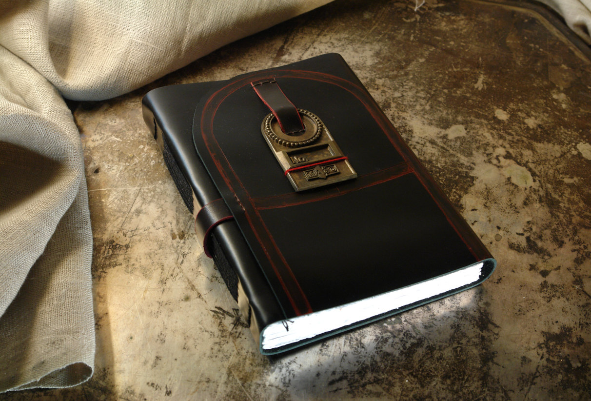 Black Leather Journal Leather Cover Notebook Thick White