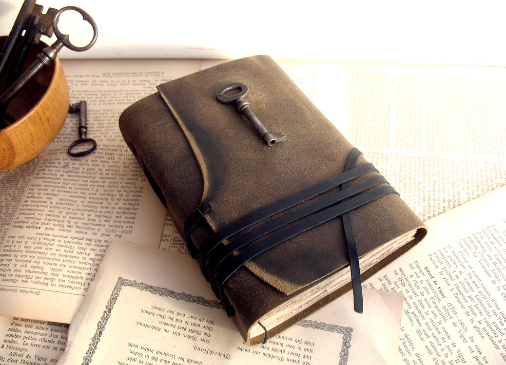 Unspoken Leather Journal With Antique Skeleton Key And