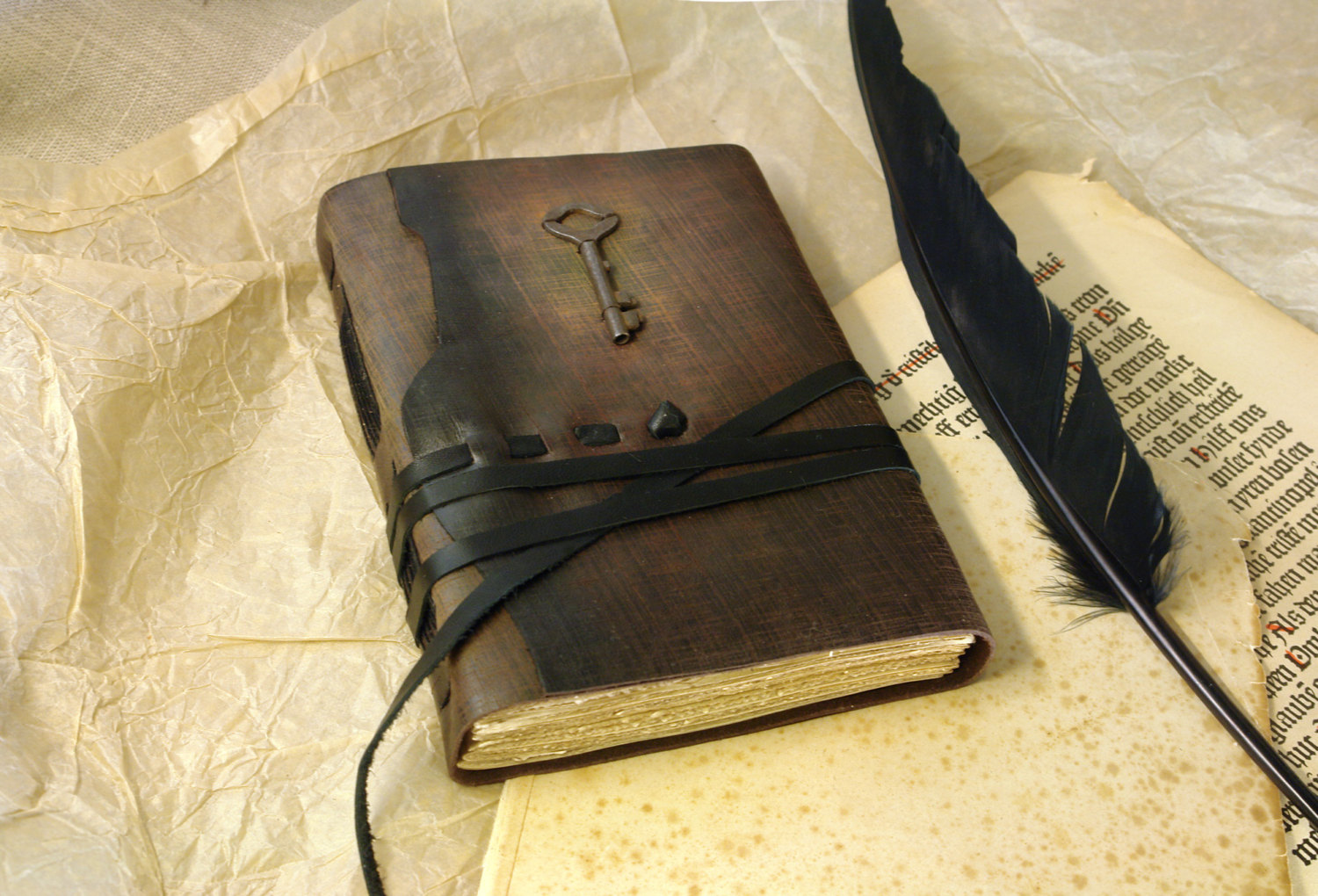 Old Leather Journal With Key Shakespeare Leather Jo...