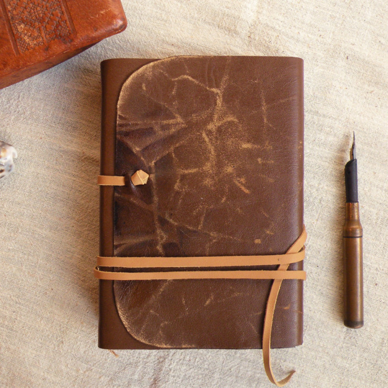 Vintage Book Cover Notebooks : Brown leather journal vintage style cover
