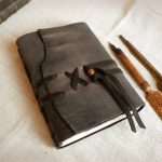 grey-leather-journal-custom-personalized-quote-vintage-style-diary-leather-notebook-Sealed-Words
