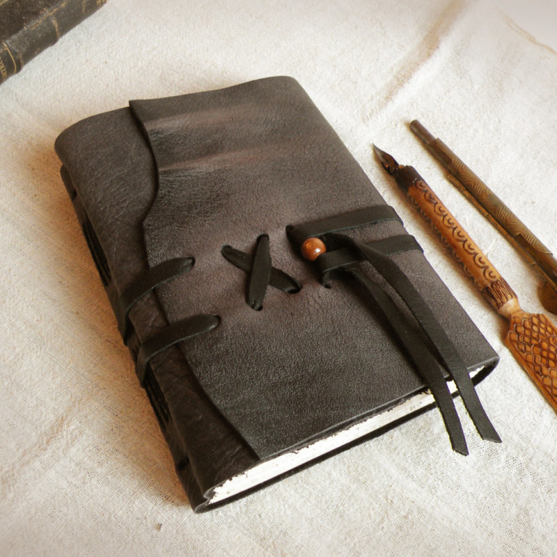 Classic Book Cover Diary : Grey leather journal custom personalized quote vintage