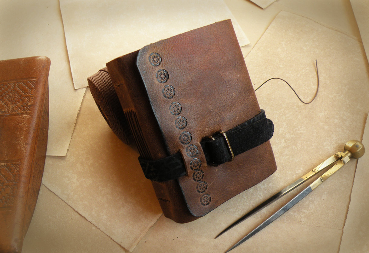 Leather Journal Little Journal With Vintage Style Paper
