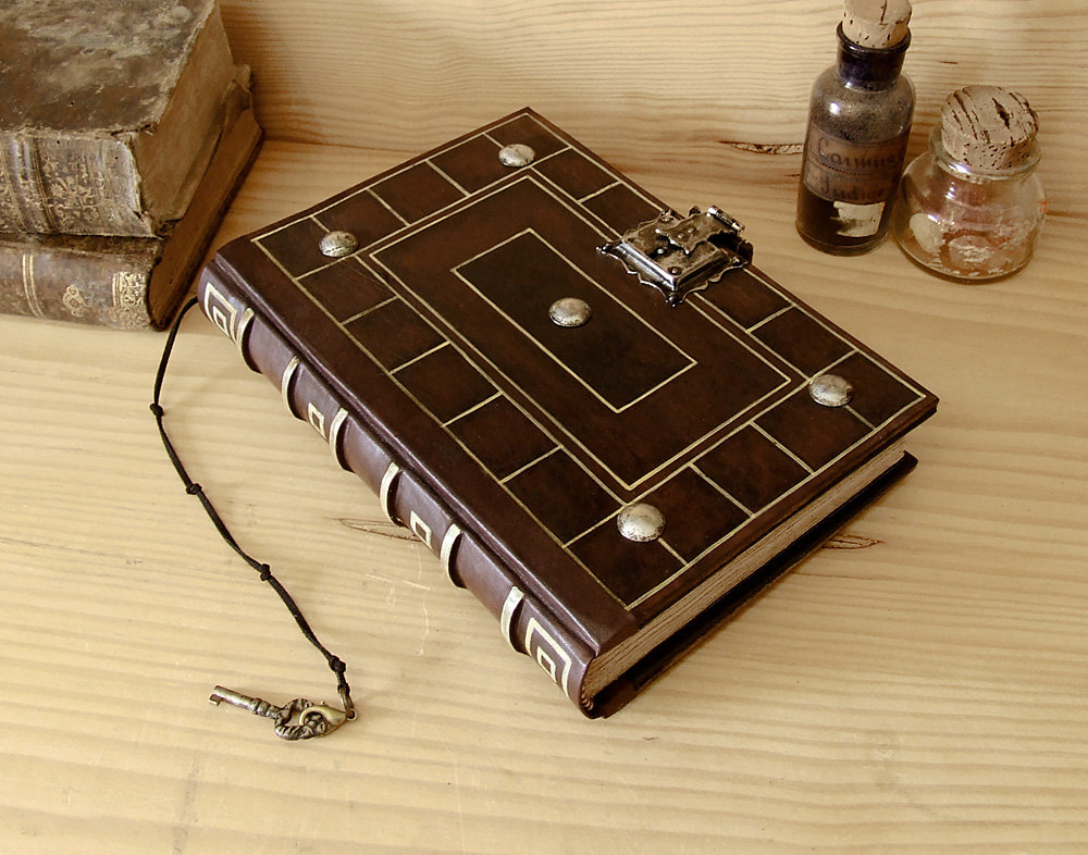 Old Leather Journal With Key Antiqued Leather Journ...