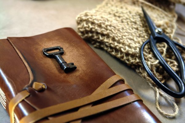 leather journal with key